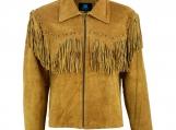 Native American Western Suede Leather Jacket Fringe Tassels
