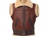Synthetic Shearling Leather Vest- Bomber Style