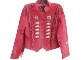 Suede Leather Jacket Fringed & Beaded