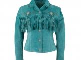 Women Turquoise Suede Leather Fringe Jacket
