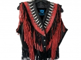 Western Fringe Bone n Bead Leather Vest