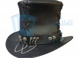 Steampunk Gothic Vintage Corset Style Leather Top Hat