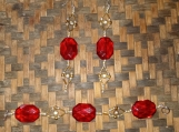 Ruby Red  & Gold Earrings with Bracelet
