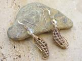 Woven Brass African Trade Bead Earrings