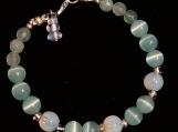 Aqua Cats Eye & Opalite Beaded Bracelet