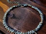 Gold Lined Matte Crystal Magatama Beaded Bracelet