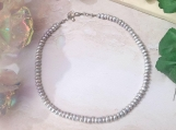 Silver Blue Freshwater Pearl Beaded Choker Necklace