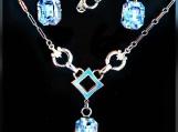 Vintage AMCO Silver Blue Topaz Art Deco Necklace & Earring Set