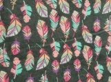 Pink & turquoise feather receiving blanket