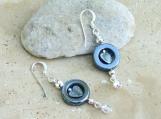 Hematite Circle Heart Sterling Earrings
