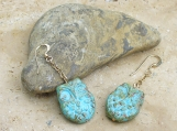 Turquoise Opaque Owl Light Picasso Finish 2 Sided Earrings