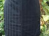 Black Pinstripe Gathering Apron - Upcycled fabrics