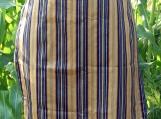 Blue Gold Pinstripe Gathering Apron - Upcycled fabrics