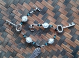 Frosted Glass and Key / Wing Charm Bracelet