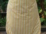 Yellow Striped Gathering Apron - Upcycled fabrics