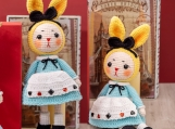 Finished Item, Cosplay Alice in Wonderland Bunny Toy, Handmade Cotton Dolls, Long Ears Rabbits, Couple Dolls For Birthday Present for girl