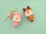 Finished Item, Cute Eik Keyring, Deer Keychain, Crochet Custom Animals Toy, Handmade Christmas Decoration, Gift for Child, Couple Presents