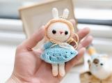 Finished Item, Rabbit Keyring, Cute Rabbit Keychain, Crochet Amigurumi Toy, Handmade Lovely Bunny, Gift for Her, Couple presents, Kawaii