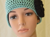 Turquoise Ear Warmer with Flower