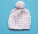 Baby Girl Hand-Knitted Hat (Pink)