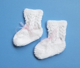 Baby Girl Hand-Knitted Socks/Booties (White)