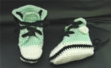 Hand Crocheted Courtside Baby Booties 3-6 months