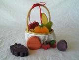 Wood Folk Art Fruit with Basket