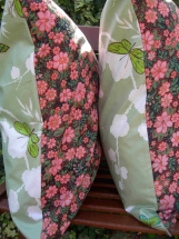 Vintage Fabric Pillow Cover Butterflies and Pink Flowers