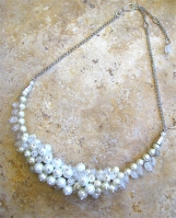 White Pearl Crackle Glass Cluster Statement Necklace