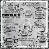 Coffee, Tea or Chocolate Digi Word art and Image Set