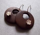 Summer Woods - Sterling Silver Dark Wood Hoop Earrings