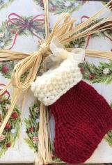 Small Christmas Stocking, Knitted Christmas Ornament, Christmas
