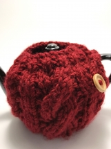 Cabled Teapot Cozy, Hand Knit 2 Cup Teapot Cozy, Red Teapot Cozy