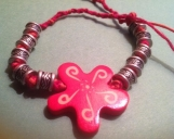 Silver Bead Red Star Double Corded Bracelet