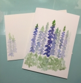 Blue Delphiniums Matthew 5:8 Hand-Painted Greeting Card