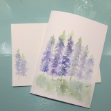 Blue Stalk Flowers Matthew 5:8 Hand-painted Card