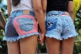 BFF COMBO High waisted denim shorts US American flag