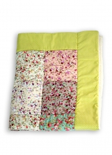 Cozy soft patchwork blanket cotton with teddy plush, play mat