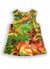 Dinosaur Sunrise Pocket Pinafore Dress