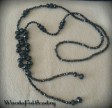 Black Faceted Crystal Dangle Necklace