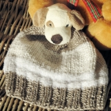 Child's Hand Knitted Fawn And White Puppy Winter Hat