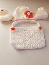 Baby girl set hat, bib booties. White orange accents