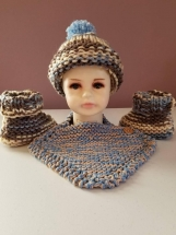 Hand knit baby hat, bib and booties set