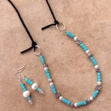 Handcrafted Pearl And Turquoise Necklace/Earrings Jewelry Set