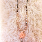 Handcrafted Pearl Droplet  Flower Necklace With Earrings