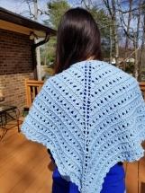 Lovely spring hand knit shawl soft pastel blue organic cotton