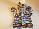 Hand knit baby sweater, booties and hat set 3 months size
