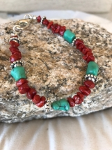 Handcrafted Red Coral And Turquoise Bracelet