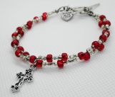 Red and Crystal Double Strand Beaded Bracelet with Cross