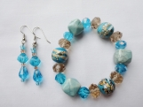 Turquoise, Blue and Brown Beaded Bracelet Set